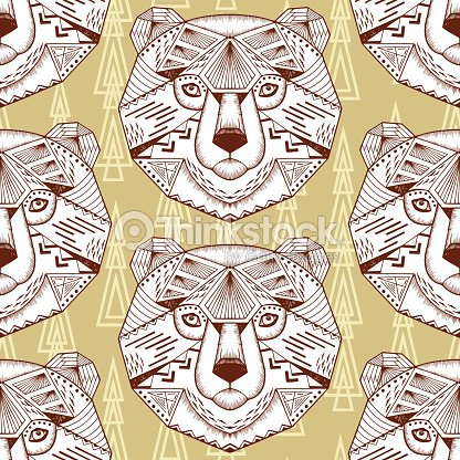 Hand Drawn Bear Heads Vector Seamless Pattern Ethnic Animal Tribal Patterned Bears