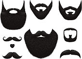 Hand drawn beards and mustaches vector collection. Illustration of black beard and mustache