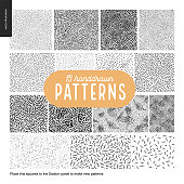 Handdrawn black and white 15 patterns set. Fur or leaves seamless black and white patterns