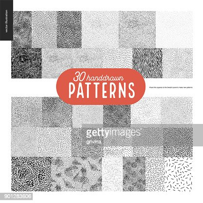 Hand drawn black and white 30 patterns set : stock vector