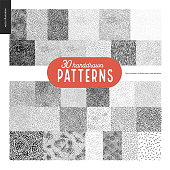 Handdrawn black and white 30 patterns set. Fur or leaves seamless black and white patterns