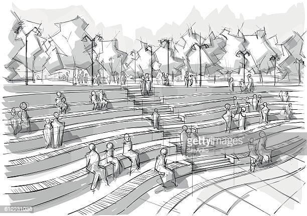 Hand drawn black and white landscape architecture