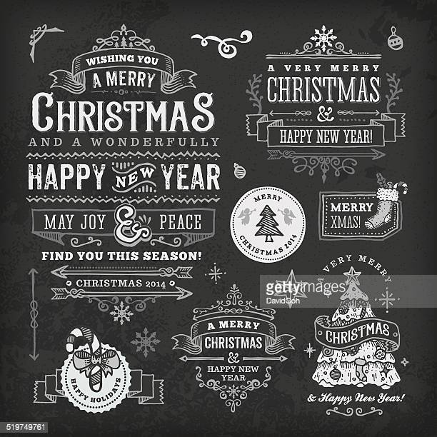 Hand Drawn Blackboard Christmas Labels & Badges