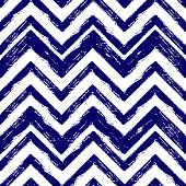 Hand drawn blue ink abstract striped seamless pattern. Vector grunge texture. Paint brush zigzag on white background