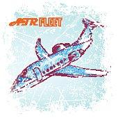 hand drawn blue plane.vector illustration
