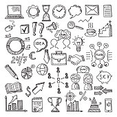 Hand drawn business icon set. Vector doodles illustrations isolate on white background. Sketch business time management, strategy and communication