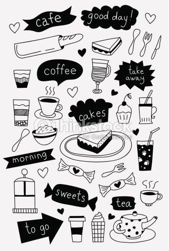 Hand Drawn Cafe Symbole Kaffee Tee Und Kuchen Desserts Und