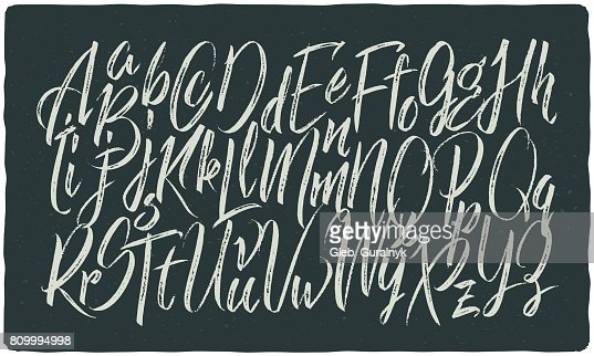 Hand drawn calligraphic font made with dry brush textured effect : stock vector