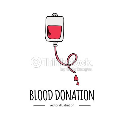 Hand Drawn Cartoon Style Doodle Blood Donation Bag With Tube Icon