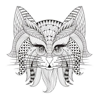 Dibujado A Mano Gato Cara Para Adultos Antistress Página Para ...