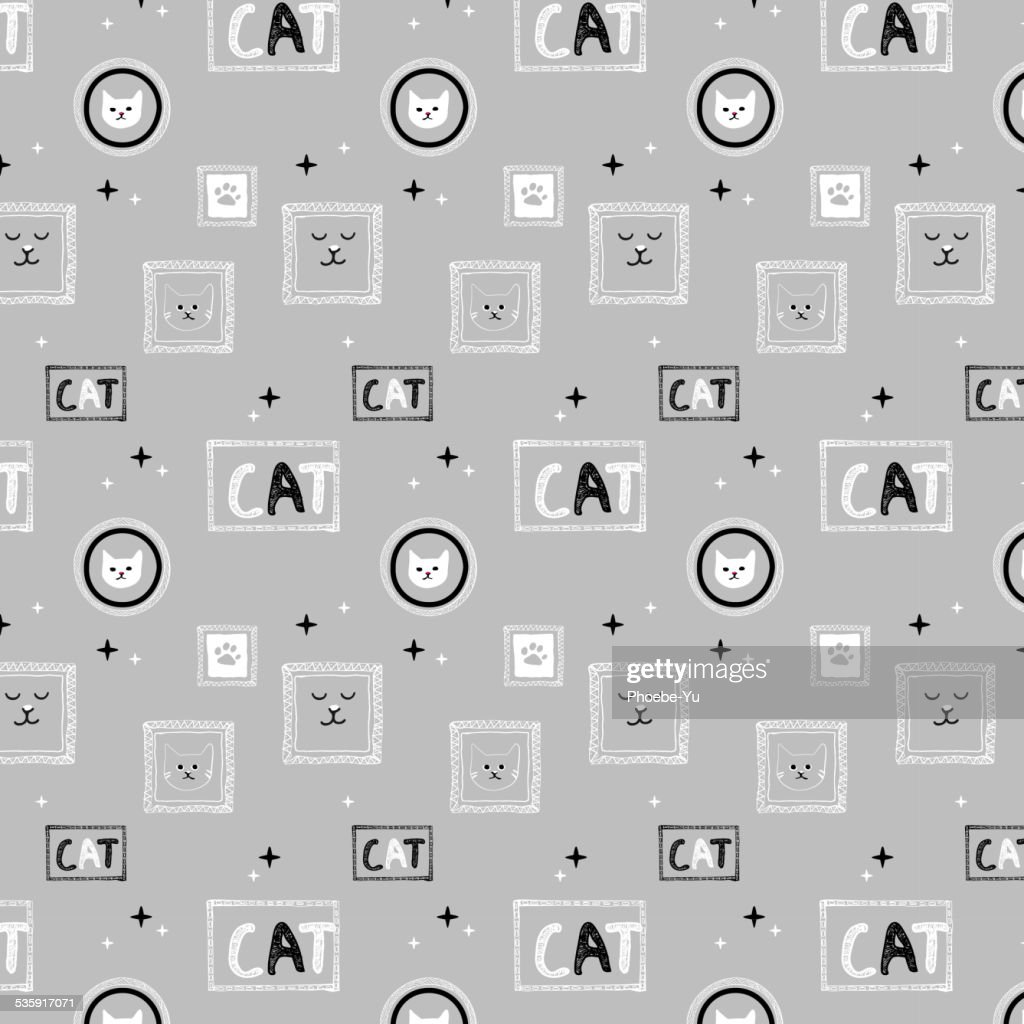 Hand drawn cat pattern background_gray : Vector Art