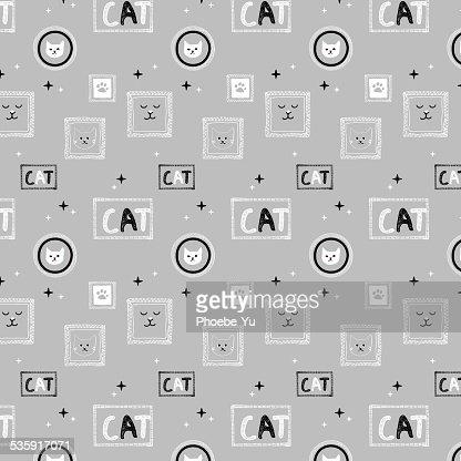 Dibujados a mano patrón background_gray cat : Arte vectorial