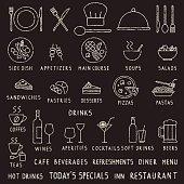 Various restaurant menu related design elements.
