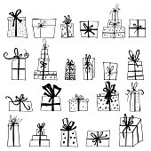 Hand drawn Chistmas gift boxes isolated on white background. Merry Christmas Happy new year for flyer, poster, banner, web, header. Xmas design.