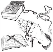 Hand drawn christian signs. Vector illustration.