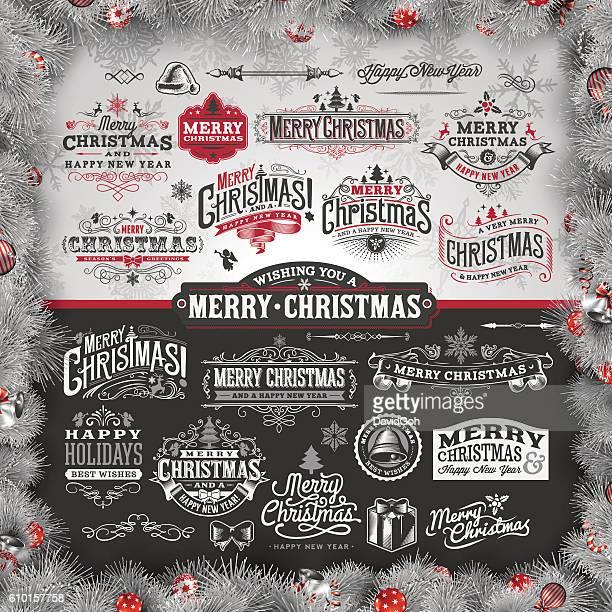 Hand Drawn Christmas Label Set