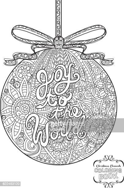 Hand drawn Christmas Ornament with ribbon coloring book