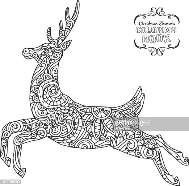 Hand drawn Christmas Reindeer ornament coloring book tangle