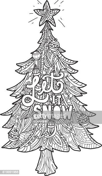 Hand drawn Christmas Tree with coloring page