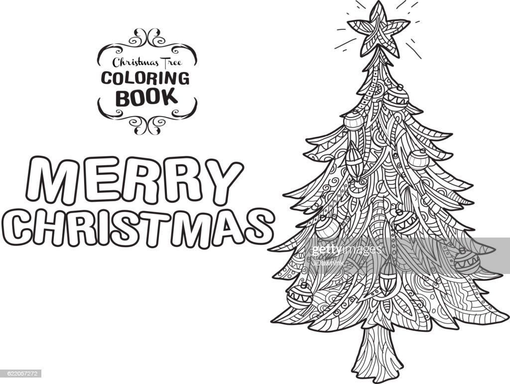 Hand Drawn Christmas Tree With Greeting Coloring Page Vector Art