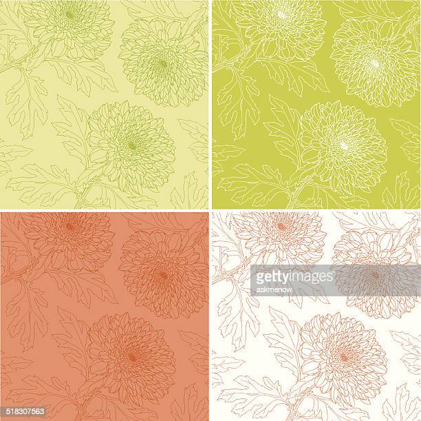 Hand drawn chrysanthemum patterns