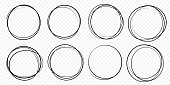 Hand drawn circle line sketch set. Vector circular scribble doodle round circles for message note mark design element. Pencil or pen graffiti  bubble or ball draft illustration