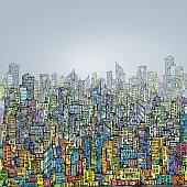 City skyline hand drawnvector illustration