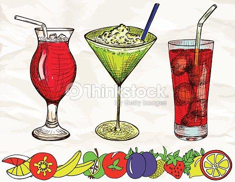 Main dessin ensemble de couleur dessin anim de cocktails de fruits clipart vectoriel thinkstock - Dessin cocktail ...
