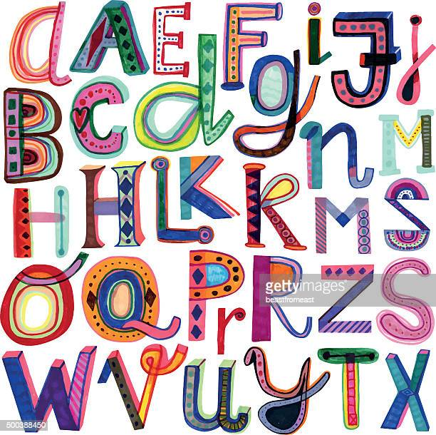 Hand drawn bunte alphabet
