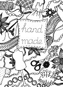 "Hand drawn creative occupation backdrop illustration with different sewing items and decoration elements. Vector illustration with the inscription ""hand made"""
