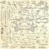 Set of decoration elements. Hand drawn ector illustration.