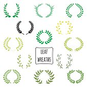 Hand drawn decorative floral set of 13 wreaths made in vector. Unique collection of green wreaths and branches.