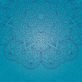 Hand drawn lace blue pattern on blue background. Ethnic decorative mandala. Elegant floral motif for save the date card, greeting card, invitation, certificate, menu. Vector illustration.
