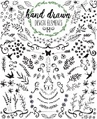Hand drawn chalkboard design elements including laurels, wreaths, floral, leaves, birds, bugs and swirls.