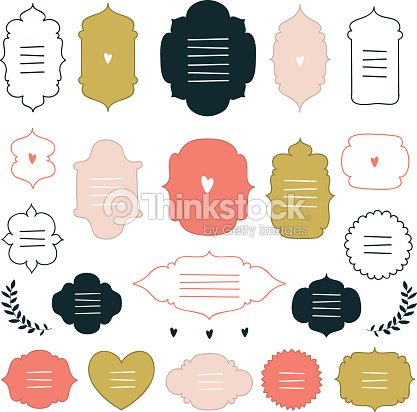 hand drawn design elements collection label tag sign symbol objects
