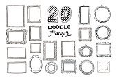 Hand drawn doodle frames set. Vector illustration.