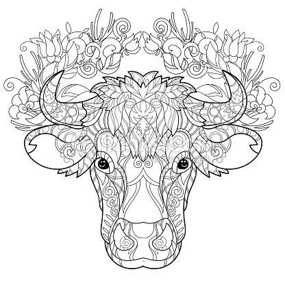 Dessinés à La Main Doodle Esquisse De Vachette Head Clipart