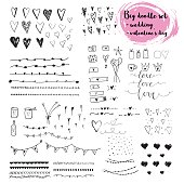 Hand drawn doodle set about love and feelings.  Vector collection of icons for Valentine's , Mothers day, wedding  and romantic events.