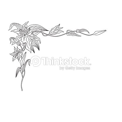 Hand drawn doodle sketch line art vector illustration of corner hand drawn doodle sketch line art vector illustration of corner ornament of royal elegance lily wedding invitation poster card decoration tattoo black junglespirit