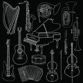 Hand drawn cute, doodle, sketch musical instruments. Vector icons set on white background