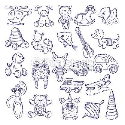 Dibujado A Mano Doodle Juguetes Para Los Niños Aislar A Bocetos De ...