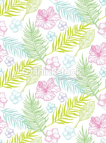 hand drawn doodle tropical leaves pattern vector art thinkstock