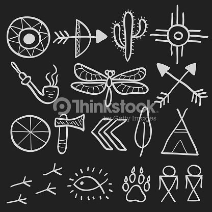 hand drawn doodle vector native american symbols set. Black Bedroom Furniture Sets. Home Design Ideas
