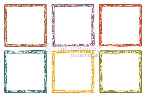 Hand Drawn Doodle Wooden Frames Vector Set Spotted Colorful Frame ...