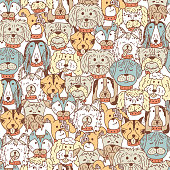 Dogs Vector Seamless pattern. Hand Drawn Doodles Dogs and accessories for pets. Black and white background.