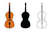 Line drawing, black silhouette, and color illustration of double bass outline classical contour wind musical instrument isolated on a white background. For student education, illustration for dictiona