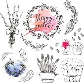 Hand drawn easter set with willow bouquet, wreath, bird nest, hiacinth, cake and watercolor splashes.