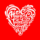 Hand drawn elegant modern brush lettering of Happy Valentines Day heart-shaped   on red  background. Vector illustration.