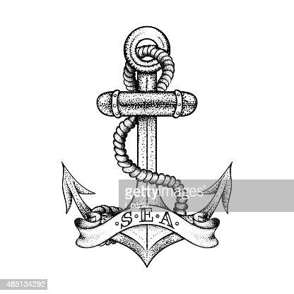 Anker bleistiftzeichnung  Hand Drawn Elegante Schiff Sea Anker Mit Seil Und Banner ...