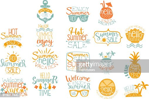 Hand drawn elements for summer calligraphic icon design. Beach vacation and hot sale concepts. Lettering with cocktails, tropical islands, sunglasses. Vector set : stock vector